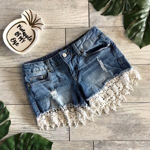 Altar'd State Cutely Crochet Denim Shorts